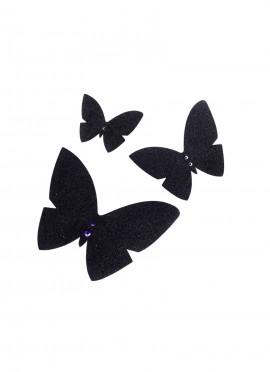 L'envolée de papillons trio - black glitters